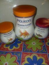 Lot of 3 Aqueon Shrimp Food pellets 3/22 Goldfish Granules 7/21 and flakes 4/21