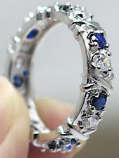 Blue Zircon White Gold Filled Women's Cross Band Engagement Eternity Ring