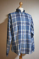 Tommy Hilfiger Check Plaid Shirt Blue/White Mens Size L New York Fit 100% Cotton