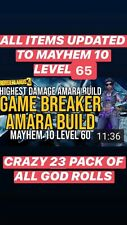 "XBOX LEVEL 65 ""GAME BREAKER AMARA BUILD"" 23 ITEMS w/ GOD ROLLS MAYHEM 10 MOXSY"