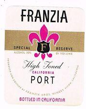 1940s California Ripon Franzia Bros FRANZIA HIGH TONED PORT WINE label