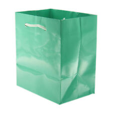 """Glossy Paper Teal Blue Gift Tote Bag Rope Handle 10 Pack 4"""" x 2.75"""" x 4.5"""""""