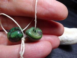 Two Antique Tibetan Dark Green Turquoise Beads from Old Collection