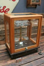Vintage Antique Brass Timber Scientific Scales Glass Case Box Pan