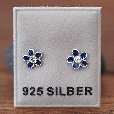NEU 925 Silber BLUMEN OHRSTECKER mit STRASSSTEINE klar/blau OHRRINGE Blüten