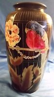 Vintage Asian Vase Urn Bird Cockatoo Japan Gilded Hand Painted Floral