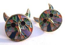 Unique boucles d'oreilles percées couleur or tète de chat émail cloisonné  3238