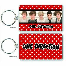 NEW* ONE DIRECTION 1D KEYCHAIN KEY RING BAND PHOTO & LOGO OFFICIAL PRODUCT NEW