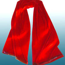 HAND DYED Silk Velvet ART Scarf Intense Red Heat Waves