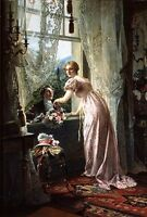 Oil painting Johann Hamza A Romantic Marriage Proposal young man girl canvas