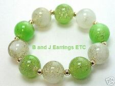 Green & White Beaded Bracelet with Gold Tone Sparkles