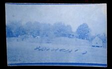 INDIAN LAKE NEW YORK NY 1912 Boats on Beach Buildings Cyanotype Photo Postcard