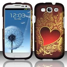 Samsung Galaxy S3 III i9300 Golden Red Heart Rubberized Hard Phone Case Cover