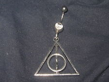 316 SURGICAL STEEL HARRY POTTER DEATHLY HALLOWS 14 GAUGE CZ BELLY RING