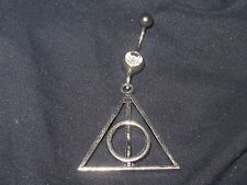 316 SURGICAL STEEL HARRY POTTER DEATHLY HALLOWS 14 GAUGE CZ NAVAL BELLY RING