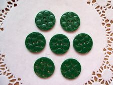 7 VINTAGE CIRCLE DESIGN GREEN PLASTIC SCHWANDA Buttons NOS SEW KNIT CRAFTS 22mm