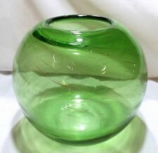 Art Glass Large Hand Made Emerald Green with Gold Swirls Rose Bowl
