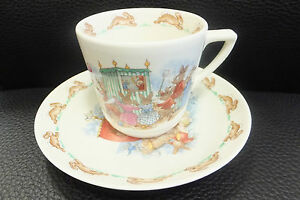 "Royal Doulton Bunnykins Casino Cup & Saucer "" Puppet Show & On The Raft """