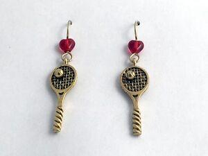 Gold Tone Pewter & 14kgf Tennis Racquet & Ball dangle Earrings-Racket- balls