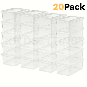 5Qt Clear View Storage Boxes Stackable Bin Plastic containers Box Pack of 20