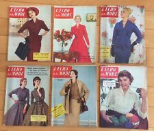 ►6 MAGAZINES - L'ECHO DE LA MODE  - 1955 & 1956 - MODE FASHION VINTAGE