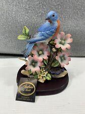 2002 Andrea By Sadek Eastern BlueBird Porcelain Figurine W Wood Base #9752