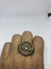 Vintage Large Stainless Steel Illuminati Eye Crest Size 11 Men's Ring
