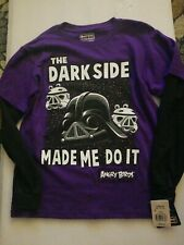 NWT Angry Birds x Star Wars ~ The Dark Side Made Me Do It L/S t-shirt Youth sz M