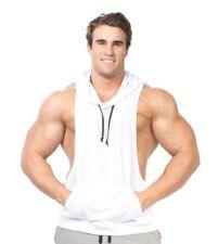 Men's Hooded Racerback Muscle Hooded Tank Top Hoodie White Size Large
