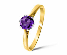 Solitaire Amethyst Yellow Gold Fine Rings