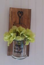 "Wall Decor rustic  with saying ""Always kiss me goodnight"" sconce anniversary"