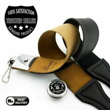 Genuine Leather Double Sided Strop 100% Canvas Knife Razor Sharpening Belt Paste