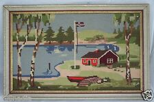 VINTAGE NEEDLEPOINT TAPESTRY WALL HANGING FRAMED FARM,CAMP,BURCH TREES