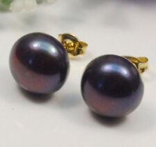 Wholesale 7-12.5MM Black/White/Pink/Purple Natural Akoya Pearl Stud Earrings AAA