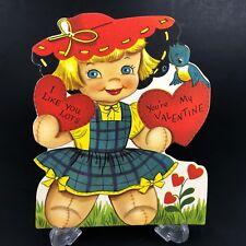 Vtg 40s 50s Valentines Card Doll Scarecrow w Blue Bird Ephemera Greeting Die Cut