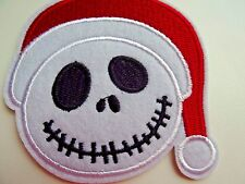 Disney's JACK SKELLINGTON SANTA HAT Embroidered Iron On/ Sew On Applique Patch
