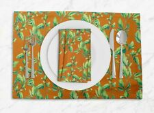 S4Sassy Jasmine Leaves Washable Tablemats With Napkins Set-LF-530P