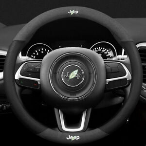 Non-slip Durable Black Suede Leather Car Steering Wheel Cover for Jeep Series
