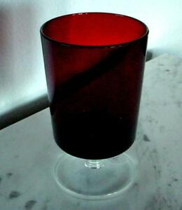 VTG GORGEOUS 1 Ruby Red Glass Champagne Wine Glasses Clear base Marked France.