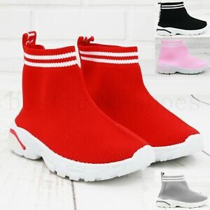 Girls Boys Kids Sock Shoes Knited Trainers Flat Sport Sneakers Speed Runners 6-2
