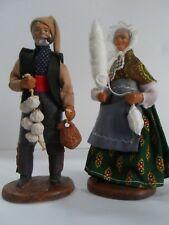 Vtg Terra cotta redware dolls M Chave Aubagne Man Woman figure in costume France