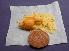 1:12 Take Away Chicken & Chips On Paper Wrap Dolls House Miniature Food (Leg)