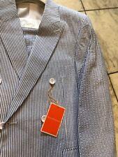 NWT ROYAL DIAMOND 100% Cotton Blue/White Seersucker Men Suit Size 44R
