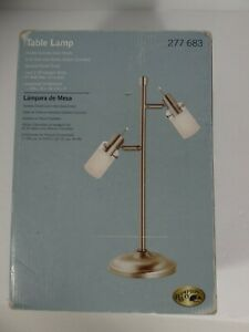 Hampton Bay Table Lamp Frosted Cylinder Glass Shade Nickel Finish Dorm College