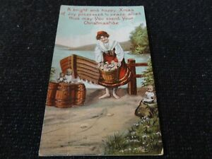 Social History Postcard Comic Woman with Children in Bucket Xmas Greetings - 433