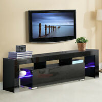 """63"""" Wood LED TV Stand Furniture Center Console Cabinet Unit w/ Shelves 2 Drawer"""