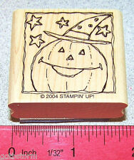 Pumpkin Happy Face Rubber Stamp Single Witch Hat by Stampin Up Festive Four