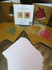 32 Gold Christmas Cards - Premium Quality Tartan Pudding & Xmas Tree Design