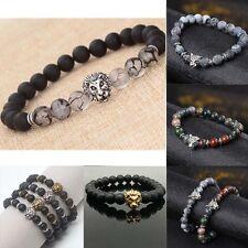 Lion Beaded Cuff Charm Bangle Bracelet Black Lava Stone Fashion Men Gold&Silver