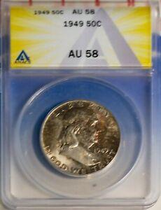 1949 50C Silver Franklin Head Half-dollar AU 58 ANACS # 7149539 + Bonus